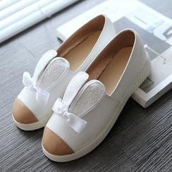 Shoes Galore - Rabbit Ear Applique Flat Slip-Ons