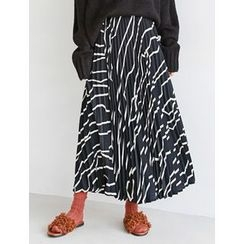 FROMBEGINNING - Pattern Pleated Maxi Skirt
