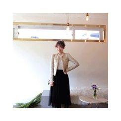 LEELIN - Wool Blend Tweed Jacket