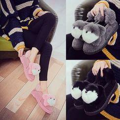 Sleeko - 小熊裝飾抓毛雪鞋