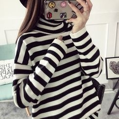 Qimi - Striped Turtleneck Long Sweater