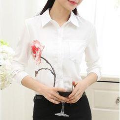 伊之戀 - 玫瑰印花雪紡襯衫