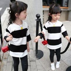 Merry Go Round - Kids Striped 3/4-Sleeve T-Shirt