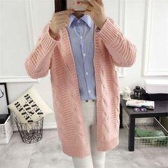Hanaya - Plain Cable-Knit Loose-Fit Long Cardigan