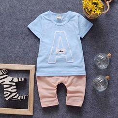 POMME - Kids Set: Print Short-Sleeve T-Shirt + Pants