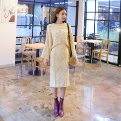 DABAGIRL - Set: Wide-Sleeve Cable-Knit Top + Midi Pencil Skirt