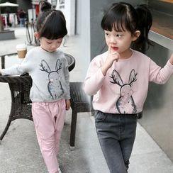Merry Go Round - Kids Rabbit Print Long-Sleeve T-Shirt