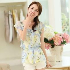 Mooiee - Gather-Waist Printed Chiffon Blouse