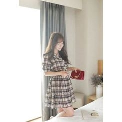 MyFiona - Smocked-Waist Plaid Chiffon Shirtdress