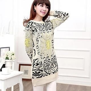 Ando Store - Wool Patterned Long Sweater