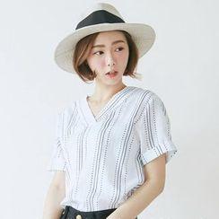 BAIMOMO - Striped Short-Sleeve V-Neck Blouse