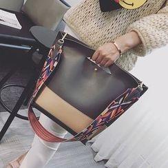 Youshine - Colour Block Shoulder Bag with Patterned Strap