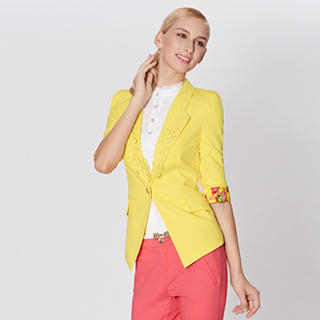 O.SA - 3/4-Sleeve Cuffed Single-Button Blazer