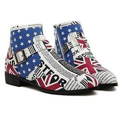 Mancienne - Printed Buckled Ankle Boots