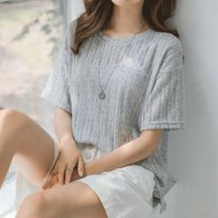 JUSTONE - Short-Sleeve Linen Blend Rib-Knit Top