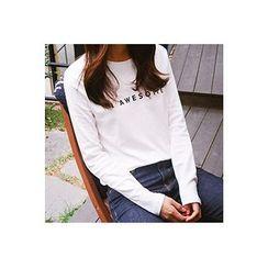 CHERRYKOKO - Long-Sleeve Lettering T-Shirt