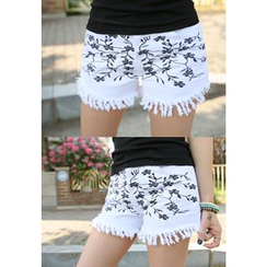 REDOPIN - Fringed Floral Print Shorts