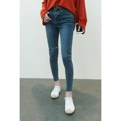 ATTYSTORY - Slit-Knee Washed Slim-Fit Jeans