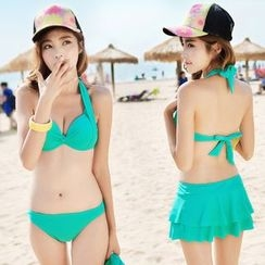 Rachel Swimwear - Ruffle Halter Bikini Set