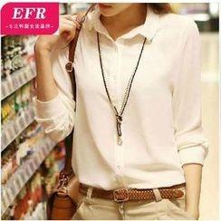 Eferu - Metal Tip Collar Chiffon Shirt