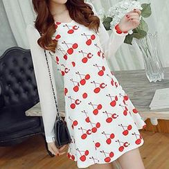 Q.C.T - Cherry Print Long-Sleeve Dress
