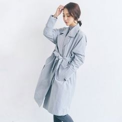 AC - Open-Front Long Light Jacket with Sash