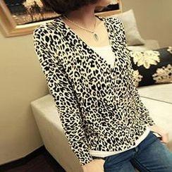 Coralie - 3/4 Sleeved Leopard Print Cardigan