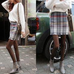 NIPONJJUYA - Fringe-Hem Wool Blend Mini Skirt