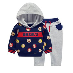 Ansel's - Kids Set: Cartoon Print Hoodie + Sweatpants