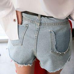 DABAGIRL - Cutout-Detail Washed Denim Shorts with Belt
