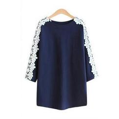 VIZZI - Crochet Oversized 3/4-Sleeve Top