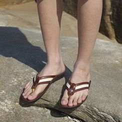 MARTUCCI - Genuine-Leather Stripe Flip-Flops