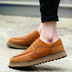 Chariot - Paneled Lace-Up Oxfords