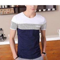 SOLER - Pinstripe Colour Block Short-Sleeve T-shirt