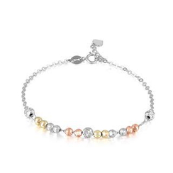 MaBelle - 14K/585 Tri-Color Gold Diamond Cut Balls Bracelet