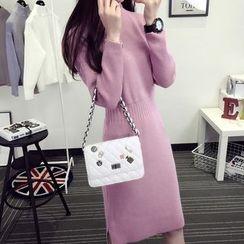 efolin - Plain Long-Sleeve Knit Dress