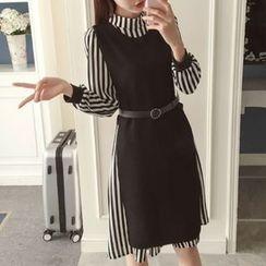 Cottony - 套裝: 條紋長袖連衣裙 + 側開衩長背心