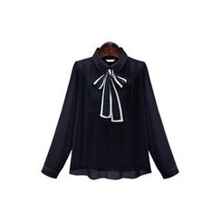 Cherry Dress - Bow Accent Contrast Trim Long Sleeve Chiffon Shirt