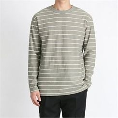 THE COVER - Round-Neck Stripe Slit-Side T-Shirt