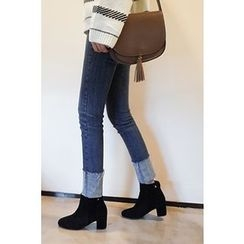 CHERRYKOKO - Cuff-Hem Washed Slim-Fit Jeans