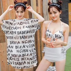 Sweet Splash - 套裝: 字母比基尼 + 泳裝外罩