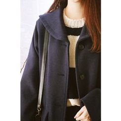 CHERRYKOKO - Sailor-Collar Buttoned Wool Blend Coat