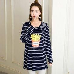 Ohayo - Maternity French Fries Print Striped Long T-Shirt