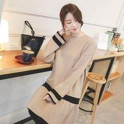 mimi&didi - Ruffle-Hem Contrast-Trim Knit Dress