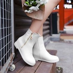 Pretty in Boots - Side Zip Hidden Wedge Ankle Boots