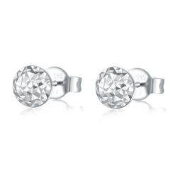 MaBelle - 14K/585 White Gold Puff Circle Diamond Cut Stud Earrings