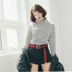 Saranghae - Striped Turtleneck Long-Sleeve T-Shirt