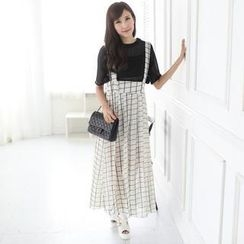 Mini Jule - Patterned Chiffon Suspender Skirt