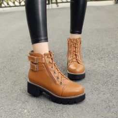 Pastel Pairs - Buckled Faux Leather Short Boots