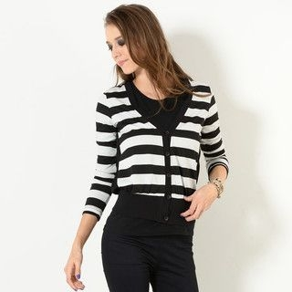 YesStyle Z - Pleated Chiffon-Panel Stripe Cardigan